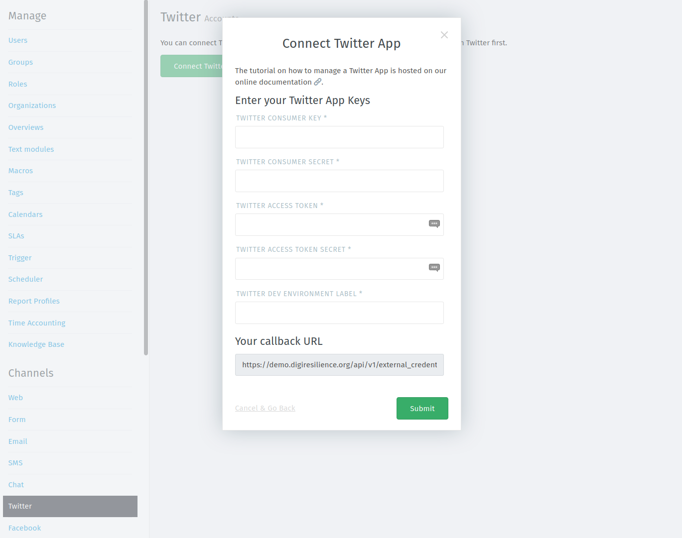 Creating and configuring a Twitter channel in CDR Link