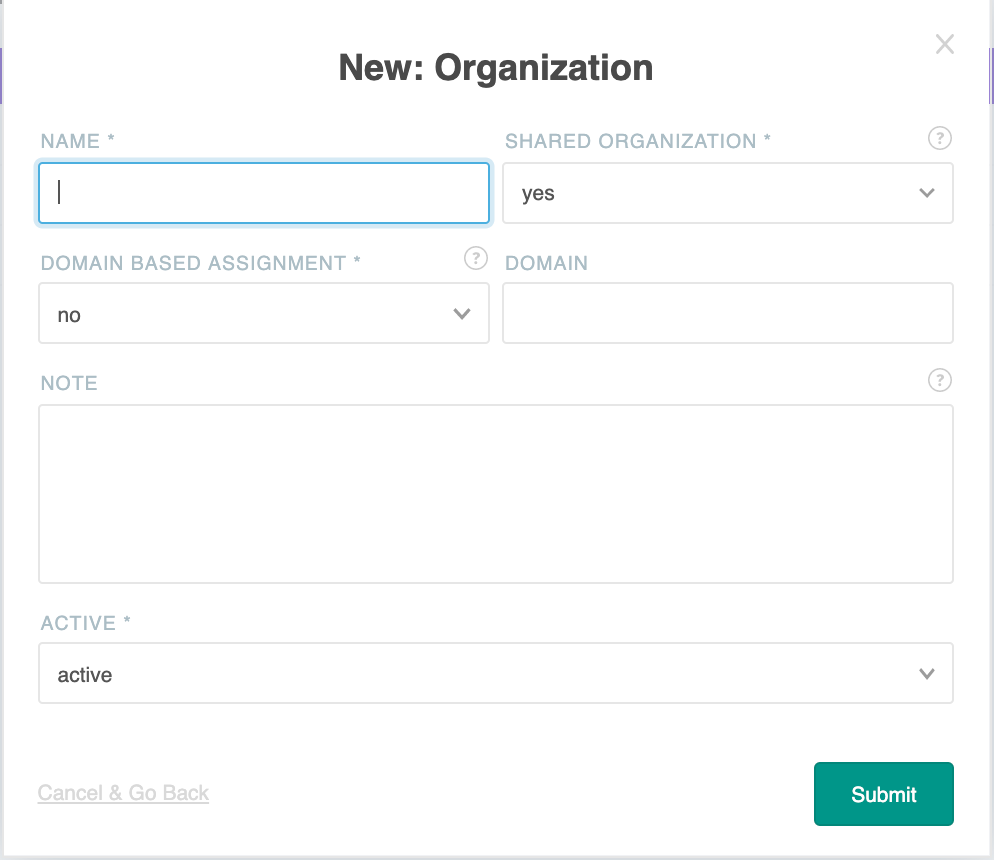 CDR Link New Organization interface