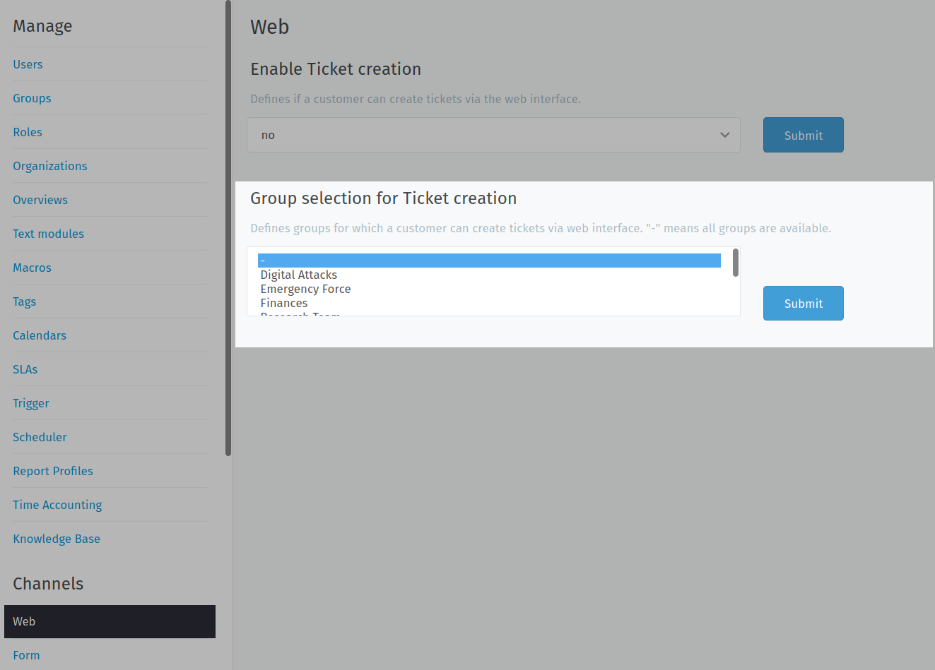 Specifying a group to be associated with a web channel in CDR Link