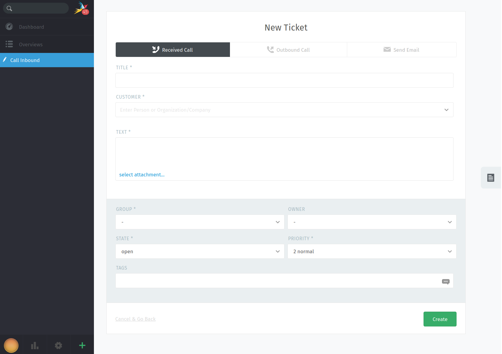Creating a new ticket from inside CDR Link